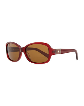 cheyenne rectangle sunglasses, red