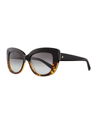 Ursula Glitter Cat Eye Sunglasses, Tortoise