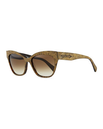 Cat-Eye Sunglasses with Golden Etched Arms, Havana