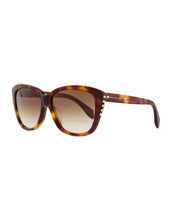 Studded Squared Cat-Eye Sunglasses, Havana