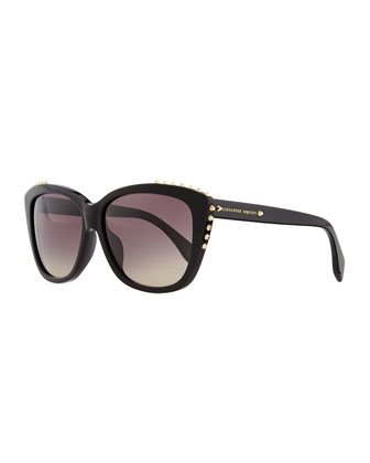 Studded Squared Cat-Eye Sunglasses, Black