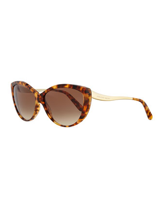 Havana Cat-Eye Metal-Temple Sunglasses, Havana