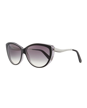 Cat Eye Sunglasses, Brown-White