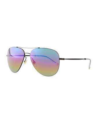 Flash Lens Aviator Sunglasses, Black