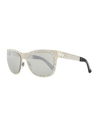 Mirrored GG Texture Sunglasses, Palladium