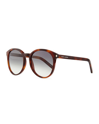 Acetate Rounded Sunglasses, Havana