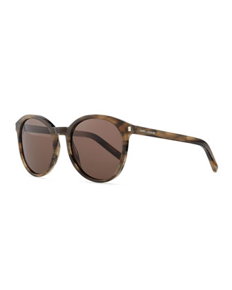 Acetate Rounded Sunglasses, Gray