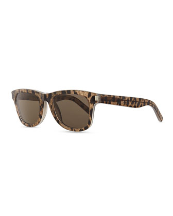Baby Cat Trapezoid Sunglasses, Brown/White