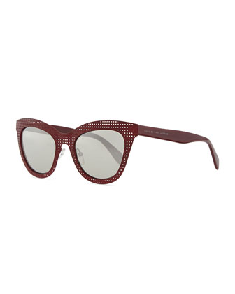 Laser-Cut Cat-Eye Sunglasses, Red
