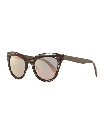 Laser-Cut Cat-Eye Sunglasses, Brown