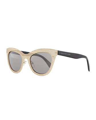 Laser-Cut Cat-Eye Sunglasses, Gold