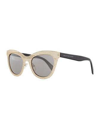 Laser-Cut Cat-Eye Sunglasses, Gold