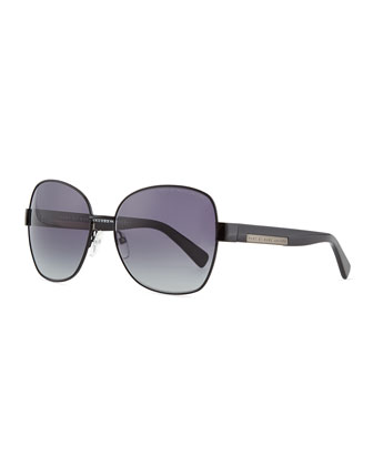Luna Plaque Butterfly Sunglasses, Black