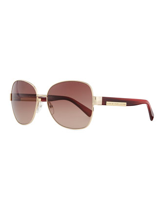 Luna Plaque Butterfly Sunglasses, Gold/Red