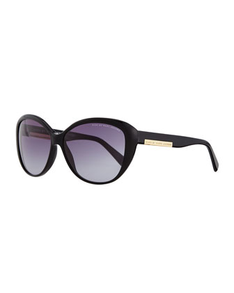 Luna Logo Plaque Sunglasses, Black