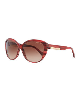 Luna Logo Plaque Sunglasses, Burgundy
