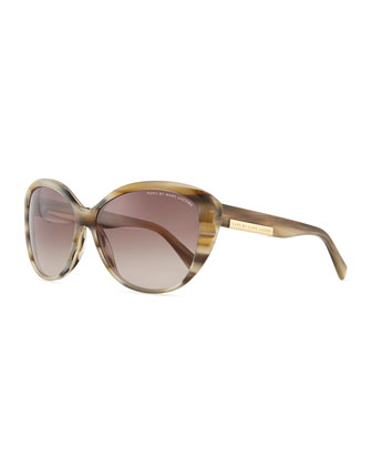 Luna Logo Plaque Sunglasses, Beige