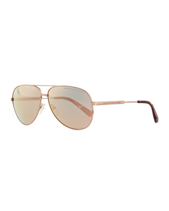 Rose Golden Aviator Sunglasses with Mirror Lens