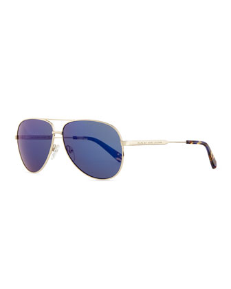 Golden Aviator Sunglasses with Blue Lens