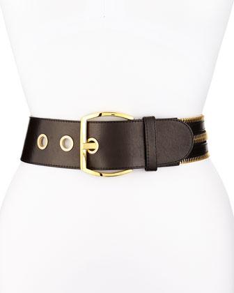 Grommet/Zip Leather Belt, Black
