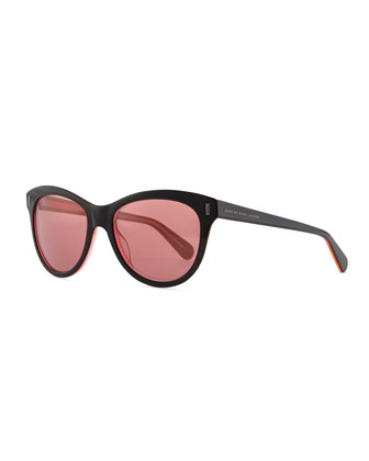 Rounded Cat-Eye Sunglasses with Orange Mirror Lens