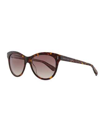 Rounded Cat-Eye Sunglasses, Havana