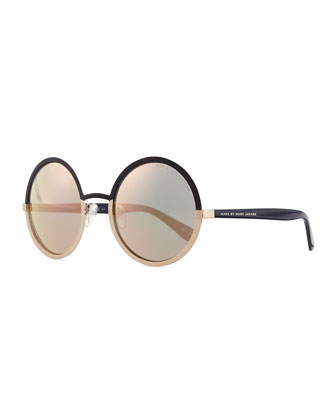 Colorblock Circle Sunglasses, Gray/Gold