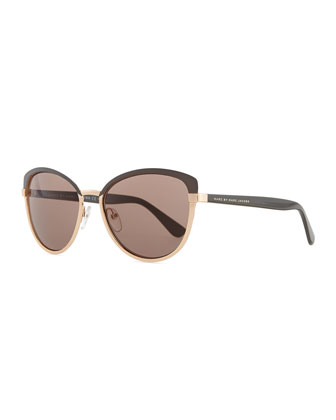 Colorblock Cat-Eye Sunglasses, Gray/Gold