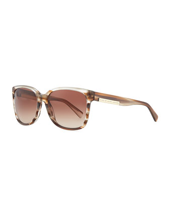 Striped Transparent Sunglasses, Brown