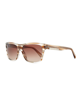 Striped Transparent Rectangle Sunglasses, Brown