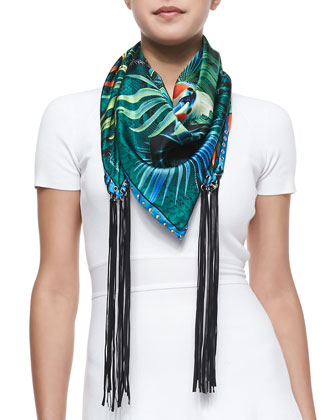 Foulard Scarf with Fringes, Blue/Multi