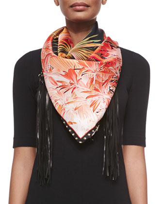 Floral-Print Scarf w/Leather Fringe