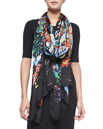 Floral/Butterfly Printed Lightweight Silk Scarf