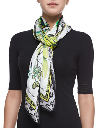 St. Bart Printed Lightweight Silk Scarf