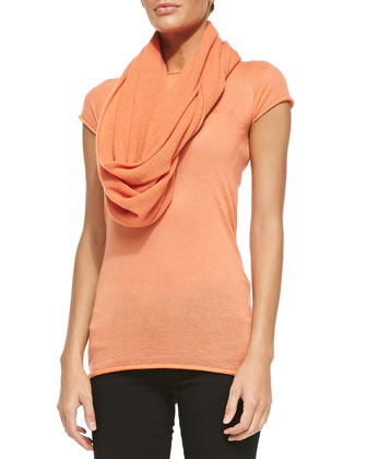 Cashmere Short-Sleeve Crewneck Top & Infinity Scarf