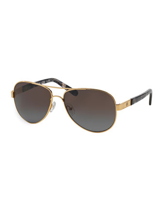 Metal Aviator Polarized Sunglasses with Acetate Arms, Golden/Gray