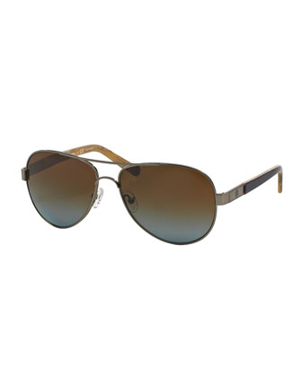 Polarized Metal Aviator Sunglasses with Acetate Arms, Gunmetal