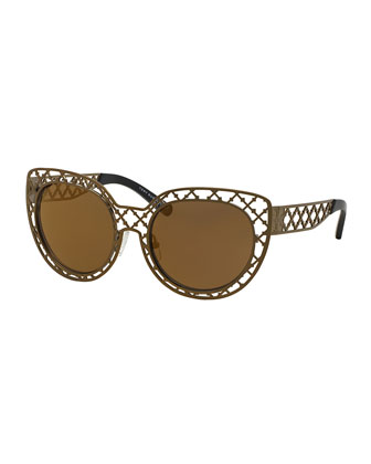 Metal Lattice Sunglasses, Brass