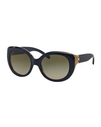 Two-Tone Plastic Cat-Eye Sunglasses, Navy