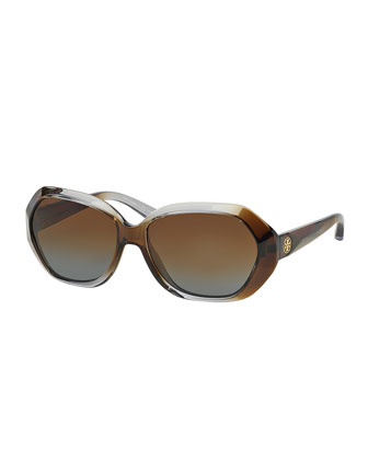 Ombre Polarized Sunglasses, Gray/Brown