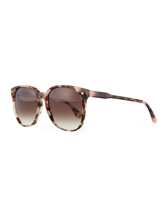 Stud Temple Rounded Square Sunglasses, Havana Rose
