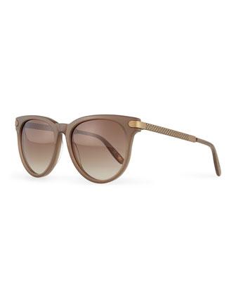 Intrecciato Round Sunglasses, Mud