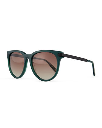 Intrecciato Round Sunglasses, Green/Black