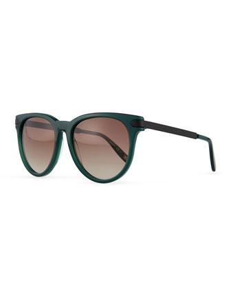 Intrecciato Round Sunglasses, Green/Black