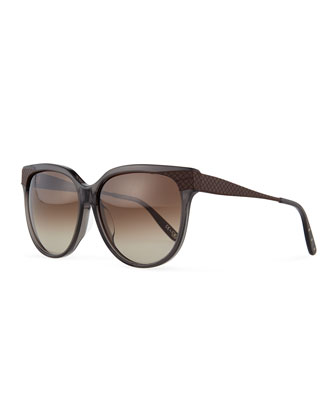 Oversize Rounded Intrecciato Sunglasses, Gray/Brown
