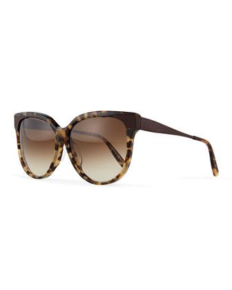 Oversize Rounded Intrecciato Sunglasses, Havana