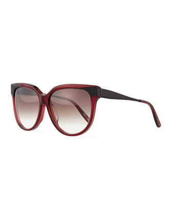 Oversize Rounded Intrecciato Sunglasses, Red/Black