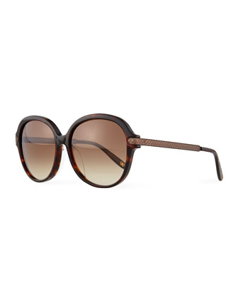 Uni Rounded Intrecciato Sunglasses, Havana