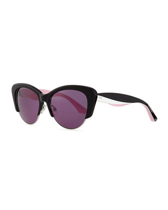 Colorblock-Arm Cat-Eye Sunglasses, Black/Pink/White