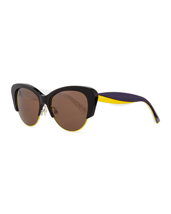 Colorblock-Arm Cat-Eye Sunglasses, Black/Gold/Purple
